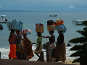 Local women selling their wares on the beach