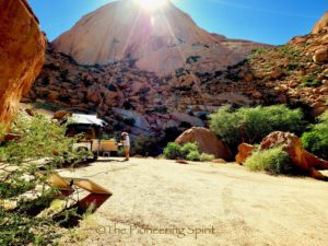 Our camp at Spitzkoppe and the scene of the incident