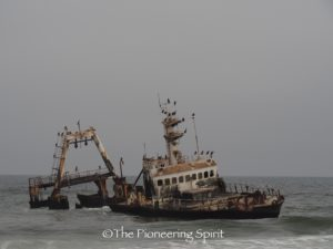 Shipwreck on our way towards the Skeleton Coast