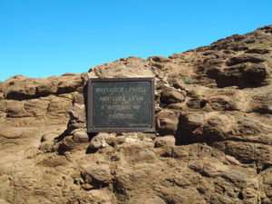 A plaque at the top of Gates of Paradise Pass